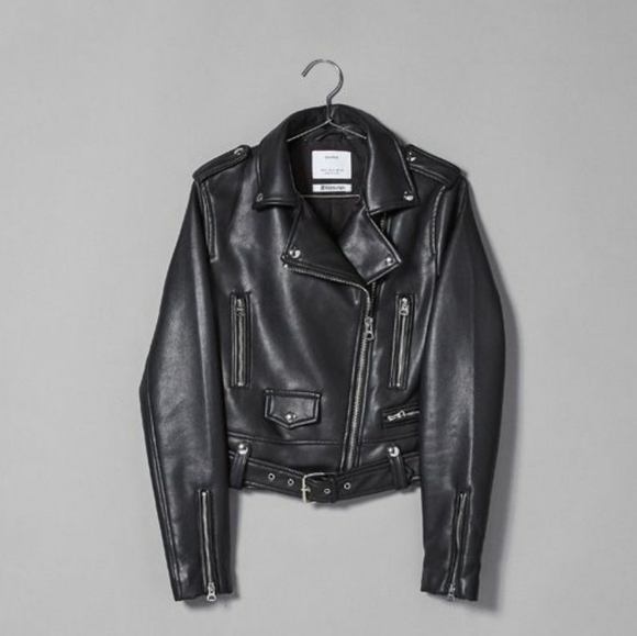 Faux leather cropped biker jacket with belt